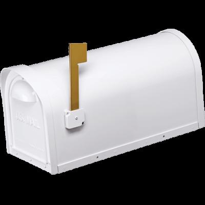 white cast aluminum mailbox