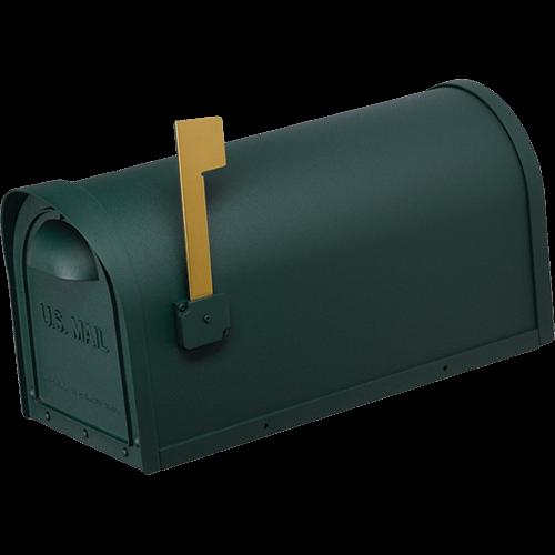 green cast aluminum mailbox