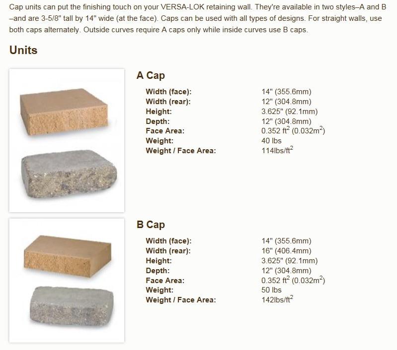 Buy Versa Lok Gray Cap South Shore Landscape Supply