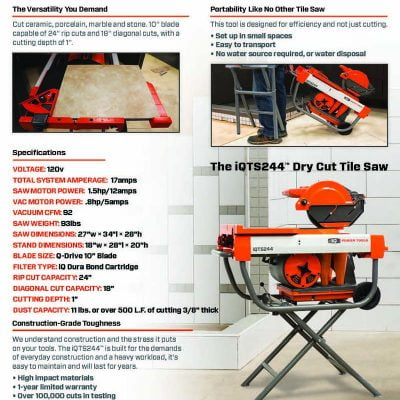 IQTS244 Dry Cut Tile Saw